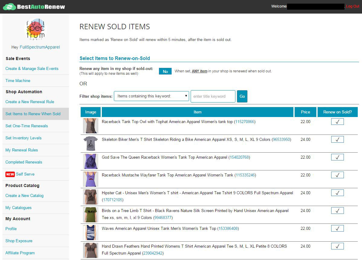 etsy auto renew sold items