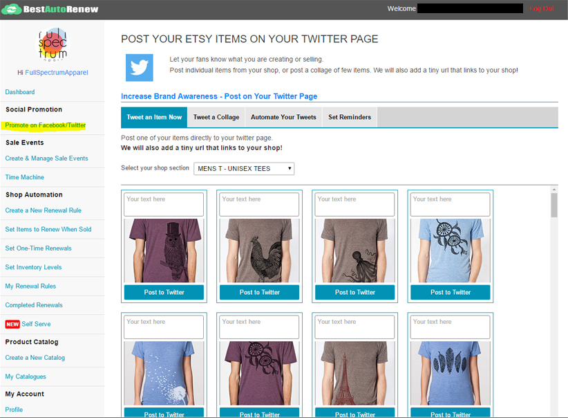how to tweet your etsy items