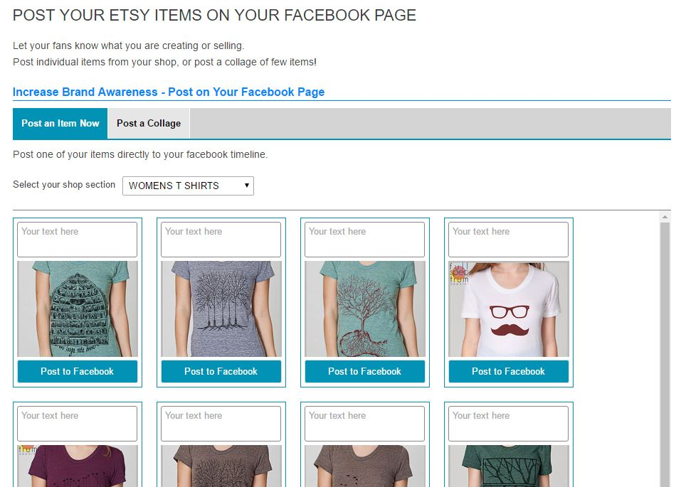 Post your etsy item on facebook